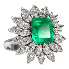 Vintage circa 1970 Certified 3.62 Carat Emerald and 4.48 Ct Diamond Cluster Ring