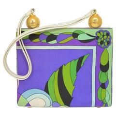 Vintage Emilio Pucci Satin Printed Top Handle Handbag