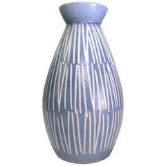 Vintage European Mid-Century Modern Light Blue and White Ceramic Vase, 1960s