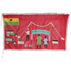 Vintage Fante Asafo Flag in Cotton Appliqué Patterns by Fante People of Ghana
