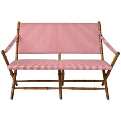 Vintage French 1950s Foldable Sofa in Faux Bamboo and Red/White Striped Textile