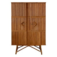 Vintage French Cabinet in Rattan with Shelves and Hangers, 1960s