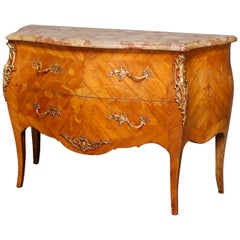 French Louis XV Inlaid Kingwood, Marble & Ormolu Bombe Commode, 20th Century