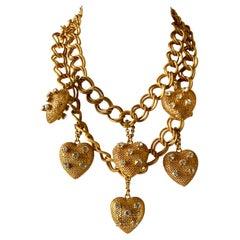 Vintage Gilt Chain and Diamanté Heart Bib Statement Necklace