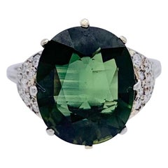 Vintage Green Sapphire Diamond Platinum Ring