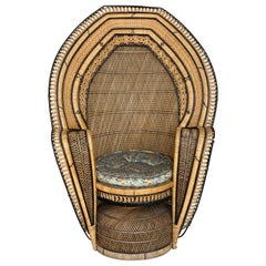 Vintage Handcrafted Wicker, Rattan and Reed Peacock Chair