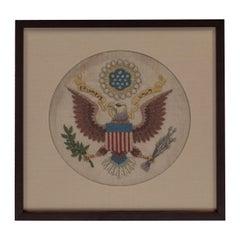 Vintage Handstitched Crewel Panel / US National Emblem
