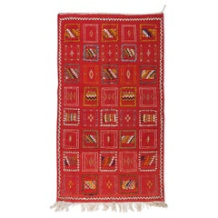 Vintage Handwoven Moroccan Wool and Organic Dye Rug with Tribal Patterns