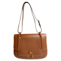 Vintage Hermes Bag in Brown Leather With Horse bit Buckle 1985 Handbag With Box