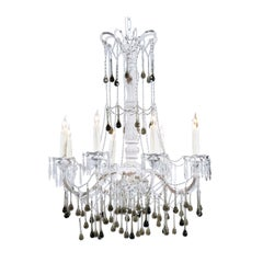 Vintage Italian 1960s Eight Light Crystal Chandelier with Olive Teardrop Prisms