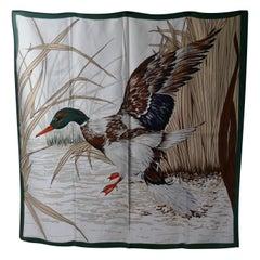 "Vintage Italian Silk Scarf ""Mallard Duck Landing"""