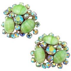 Vintage Juliana-Style Mint Green Givre Glass & AB Rhinestone Statement Earrings