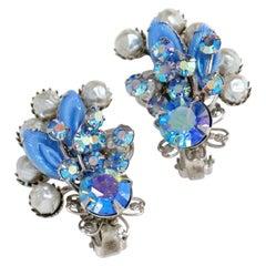 Vintage Juliana-Style Pastel Blue Aurora Borealis Rhinestone Statement Earrings