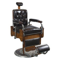 Vintage Koken Barber's Chair 1890 ca signed Koken Barbers' Supply St. Louis, Mo