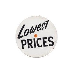 "Vintage ""Lowest Prices"" Grocery Market Trade Sign"
