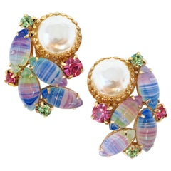 Vintage Mabe Pearl & Givre Glass Juliana-Style Statement Earrings