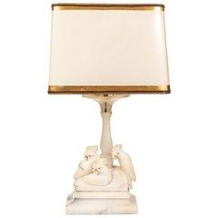 Vintage Marble Lamp with 3 Carved Cockatoos