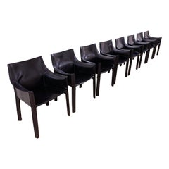 Vintage Matched Set of 8 Mario Bellini Black Leather Cab Armchairs for Cassina