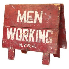 Vintage Men Working Sign