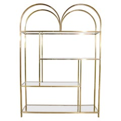 Vintage Modern Double Arched Étagère Display Shelves Brass Plated and Glass