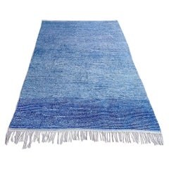 Vintage Moroccan Rug in Various Shades of Blue