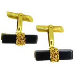 Vintage Onyx Mesh Woven Yellow Gold Cufflinks
