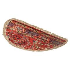 Vintage Oriental Rug Door Mat, Handmade Carpet, Semicircle Entrance Way Mat