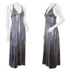 Vintage PACO RABANNE Silver Metallic Mesh Grid Long Dress