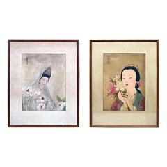 Pair of Japanese Woodblock Portrait Prints Geisha Girls, Stamped, circa 1920