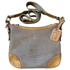 Vintage Prada Milano Canapa Jacquard Crossbody Shoulder Bag