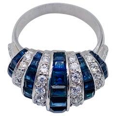 Vintage Sapphire Diamond Platinum White Gold