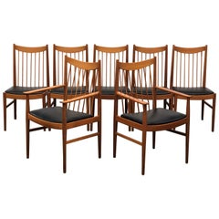 Danish Modern Set of Six Plus One Teak Spindle Back Dining Chairs  Arne Vodder