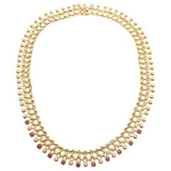 Vintage Tiffany & Co. Ruby Collar Yellow Gold Necklace
