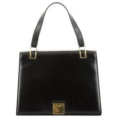Vintage Top Handle Flap Bag Leather Medium
