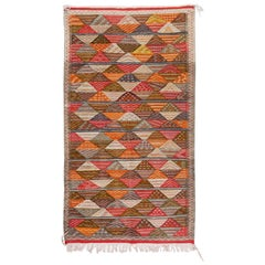 Vintage Tribal Handwoven Wool and Organic Dye Rug or Carpet in Triangle Patterns