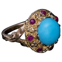 Vintage Turquoise Ruby Gold Ring