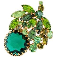 Vintage Weiss Emerald & Peridot Rhinestone Crystal Brooch, Signed, circa 1950s