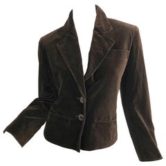 Vintage Yves Saint Laurent Size 40 / US 8 Chocolate Brown Velvet Cropped Jacket