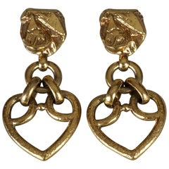 Vintage YVES SAINT LAURENT Textured Heart Drop Earrings