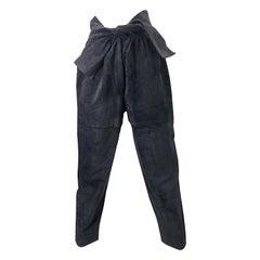 Vintage Yves Saint Laurent YSL 1980s Grey Suede Leather High Waisted Harem Pants