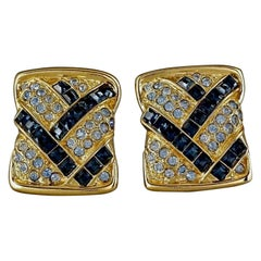 Vintage YVES SAINT LAURENT Ysl Abstract Rhinestone Rectangular Earrings