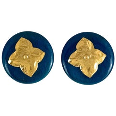 Vintage YVES SAINT LAURENT Ysl Blue Wood Textured Gilt Flower Earrings