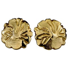 Vintage YVES SAINT LAURENT Ysl Gilt Flower Earrings