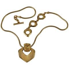 Vintage YVES SAINT LAURENT Ysl Logo Ribbed Pendant Snake Chain Necklace