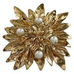 Vintage YVES SAINT LAURENT Ysl Pearl Flower Brooch