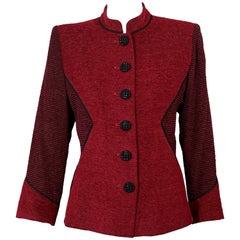 Vintage YVES SAINT LAURENT Ysl Red Mandarin Collar Jacket