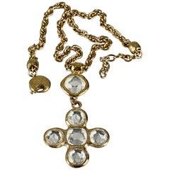 Vintage YVES SAINT LAURENT Ysl Robert Goossens Jeweled Cross Necklace