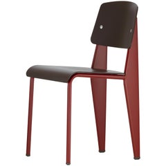 Vitra Standard SP Chair in Teak Brown and Japanese Red by Jean Prouvé