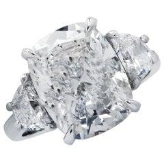 Vivid Diamonds GIA Certified 5.10 Carat Cushion Brilliant Engagement Ring