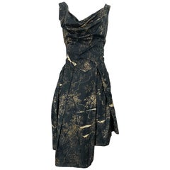 Vivienne Westwood 2000s Black + Brown Flower Print Asymmetrical Cotton Dress